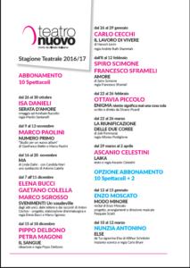 Locandina stagione teatrale 2016 2017 del Teatro Nuovo
